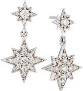 Penny Preville 18k Pave Diamond Double Starburst Drop Earrings
