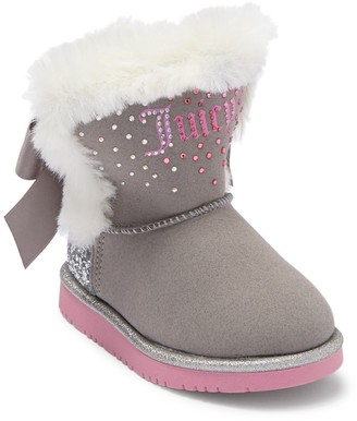 Juicy Couture Lil Rocklin Faux Fur Trimmed Bootie (Toddler)