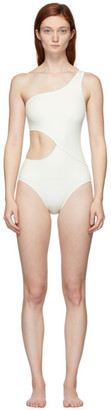 Off-White Solid and Striped The Claudia One-Piece Swimsuit