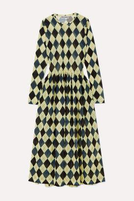 Molly Goddard Alberta Argyle Stretch-mesh Midi Dress - Yellow