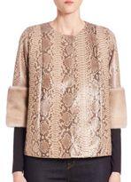 Carmen Marc Valvo Python & Mink Fur Jacket