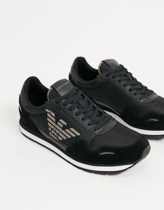 Emporio Armani suede mix metallic eagle logo runner trainers in black
