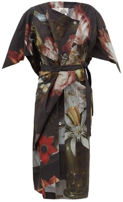 Vivienne Westwood Thaw Asymmetric Bosschaert-print Cotton Dress - Womens - Black Print