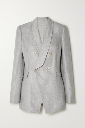 Brunello Cucinelli Double-breasted Metallic Linen-blend Blazer - Silver