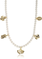 Aurelie Bidermann Cheyne Walk Long Necklace w/Glass Pearls and 18K Gold-Plated Charms