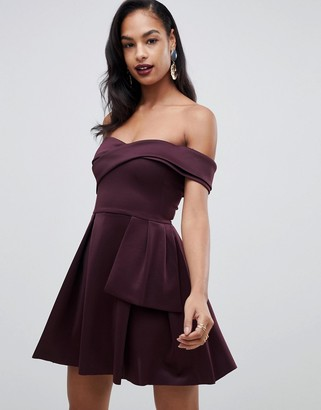 ASOS DESIGN Bardot Fold Wrap Front Mini Skater Dress