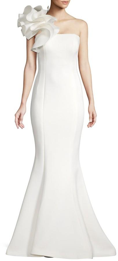 Jovani Applique Shoulder Mermaid Scuba Gown