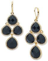 Anne Klein Chand Jet Epoxy Stone Drop Earrings
