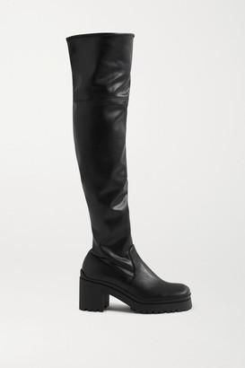 Miu Miu Leather Platform Over-the-knee Boots - Black