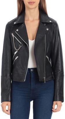 AVEC LES FILLES Short Leather Jacket