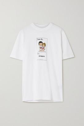 Vetements Printed Cotton-jersey T-shirt - White