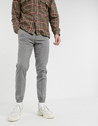 ASOS DESIGN smart skinny pants in gray with jogger cuffs