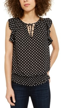 INC International Concepts Inc Petite Dotted Ruffled Smocked-Hem Top, Created for Macy's