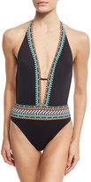 Nanette Lepore Tribal Beat Goddess One-Piece Swimsuit, Black