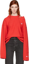 Vetements Red Champion Edition Cut-out Neckline Sweatshirt
