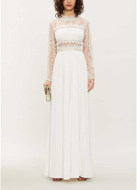 Self-Portrait Embellished lace and crepe maxi dress