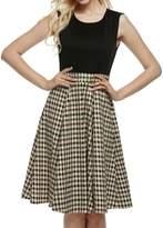 ACEVOG Women Crew Neck Sleeveless Vintage Classic Casual Swing Party Dress S