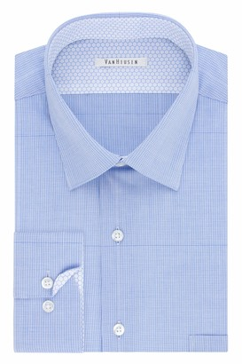Van Heusen Men's Air Regular Fit Micro Check Spread Collar Dress Shirt