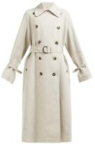 Roksanda Daksa Sequinned Linen Trench Coat - Womens - Grey Multi