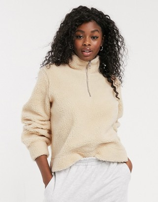 Pieces borg sweater with half zip in cream