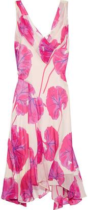 Diane von Furstenberg Dita Asymmetric Printed Crinkled-chiffon Dress