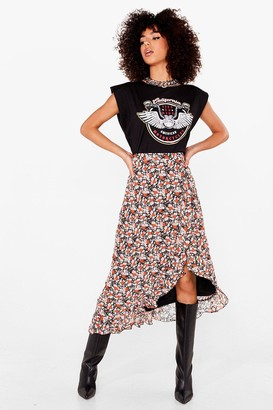 Nasty Gal Womens Leafing So Soon Wrap Midi Skirt - Black - 6