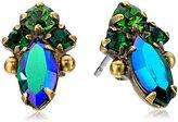 "Sorrelli Wild Fern"" Narrow Clustered Crystal Post Stud Earrings"
