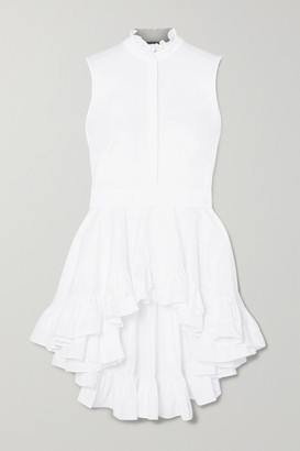 Alexander McQueen Ruffled Cotton-poplin Top - White