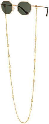 Valentino Vlogo Chain Metal Sunglasses in Green & Pale Gold | FWRD