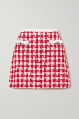 Miu Miu Checked Wool And Cotton-blend Tweed Mini Skirt - Red