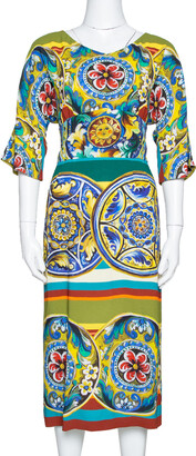 Dolce & Gabbana Multicolor Printed Crepe Sheath Dress L
