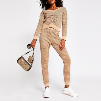 River Island Womens Brown RI logo jogger