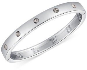 GUESS Silver-Tone Crystal Hinged Bracelet