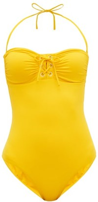 Melissa Odabash Beijing Lace-up Bandeau Swimsuit - Womens - Yellow