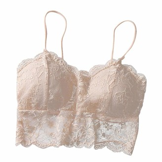 Aotifu Women Bra Bralette Lace Padded Bralette Lace Bandeau Bra Tube Bra Lace Top with Straps and Removable Pads for Women Girls Khaki