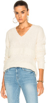 Frame Slouchy V-Neck Stripe Sweater in White.