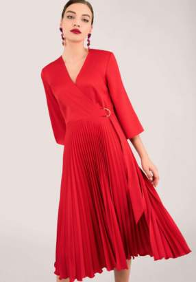 Closet London Red Pleated Wrap Dress with Asymmetrical Tie - polyester | 12