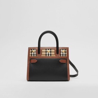 Burberry Mini Leather and Vintage Check Two-handle Title Bag