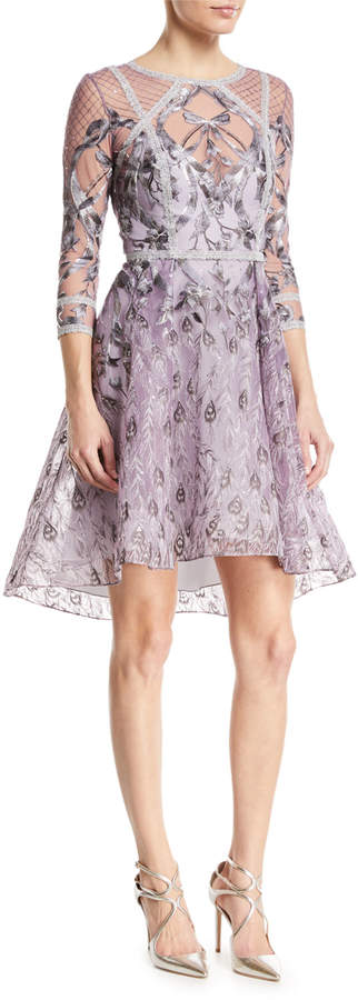 Marchesa Embroidered High-Low Metallic-Trim Cocktail Dress
