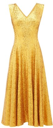 Norma Kamali Grace Sequinned Midi Dress - Womens - Gold