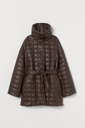 H&M Quilted Faux Leather Jacket - Brown