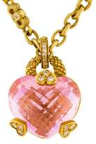 Judith Ripka 18K DIamond & Pink Crystal Heart Pendant Necklace