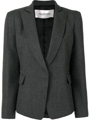 Valentino Concealed Fastening Virgin Wool Blazer