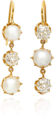 Renee Lewis 18K Gold Pearl and Diamond Earrings