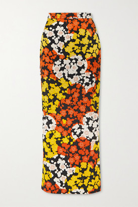 McQ Floral-print Silk-crepe Maxi Skirt - Orange