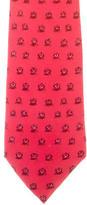 Hermes Owl Print Silk Tie