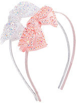 Copper Key 2-Pack Iridescent-Crystals Bow Satin Headband Set