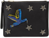 Cynthia Rowley Isla Crystal Star Beaded Bird Clutch, Black