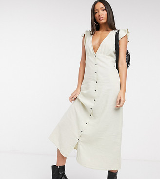 Only Tall button front midi dress in beige