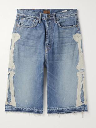 KAPITAL Distressed Appliqued Denim Shorts